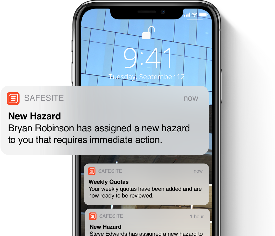 Mobile view of smart safety notifications and hazard alerts to support corrective campaigns