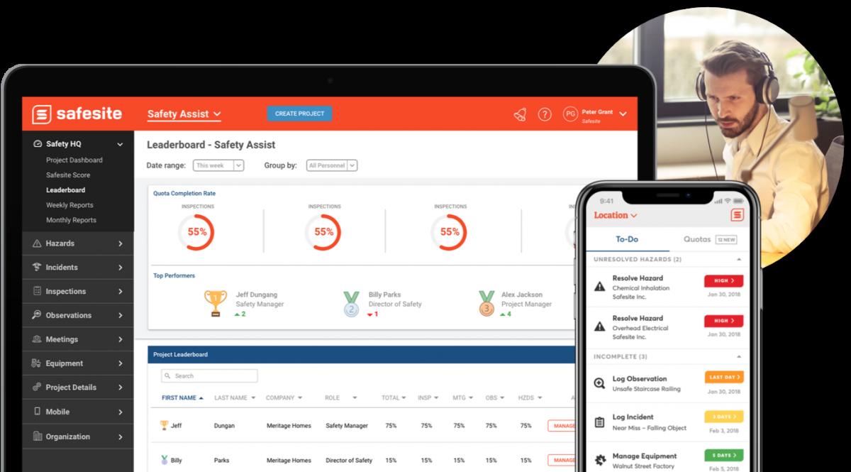 Safesite App Projects Dashboard Desktop Mobile