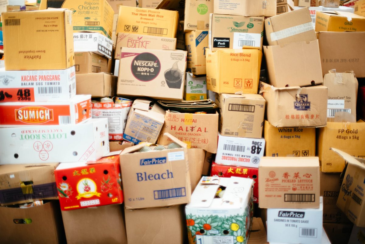 Pile of cardboard boxes illustrating unsafe warehouse conditions