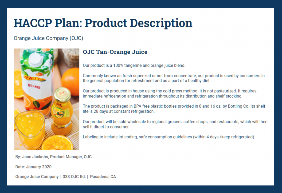 Sample Haccp Product Description